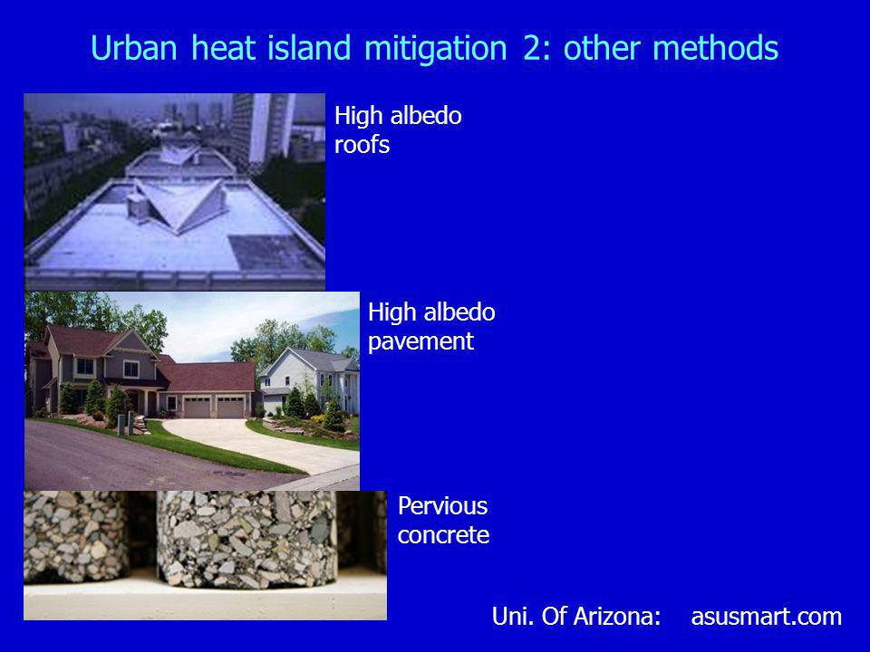 Urban heat island mitigation 2: other methods High albedo roofs High albedo pavement Uni. Of Arizona: asusmart.com Pervious concrete