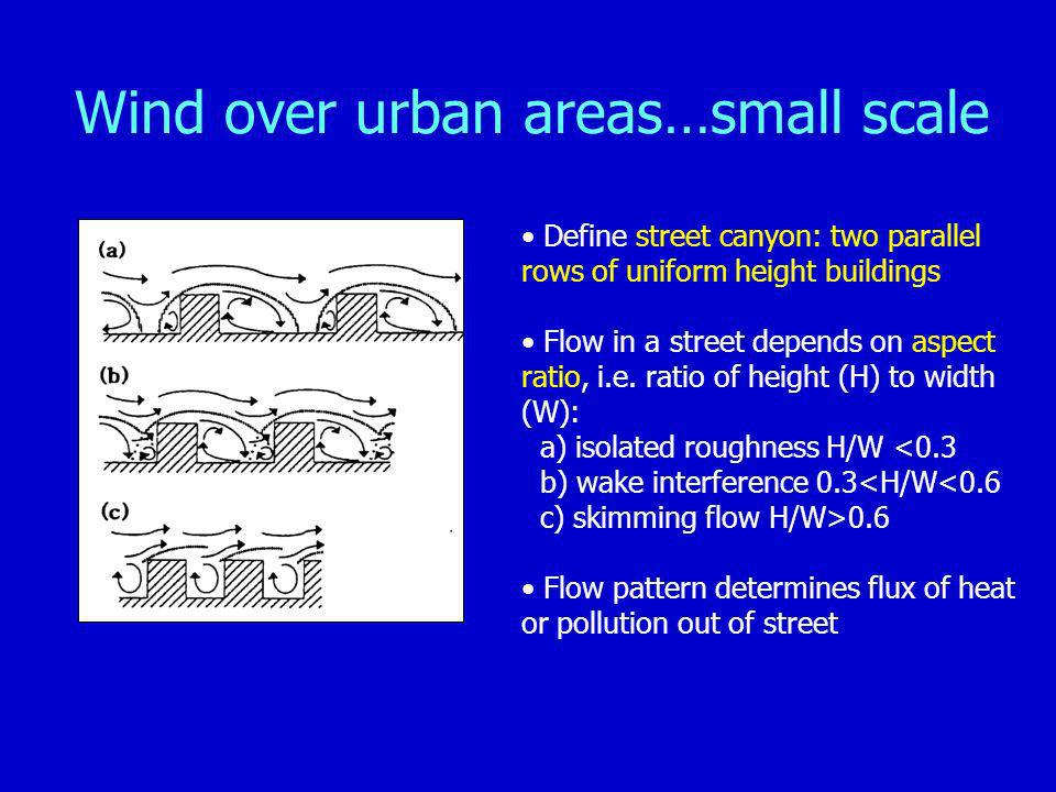 Wind over urban areas…small scale Define street canyon: two parallel rows of uniform height buildings Flow in a street depends on aspect ratio, i.e.