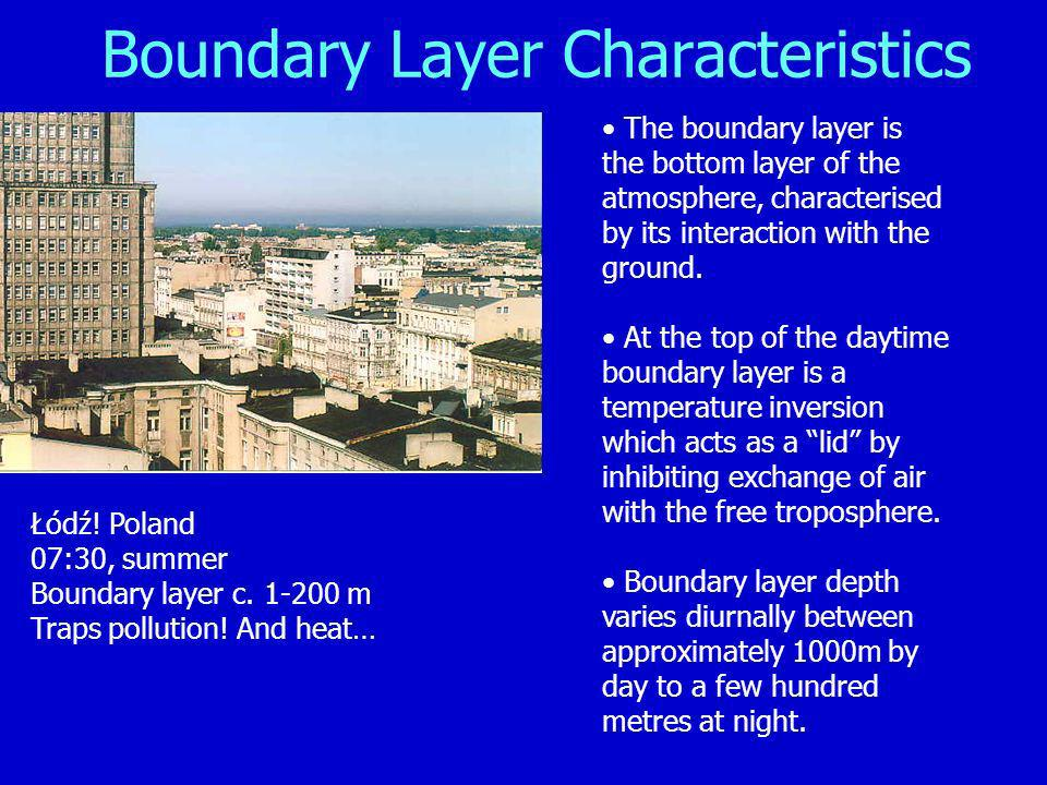 Boundary Layer Characteristics The boundary layer is the bottom layer of the atmosphere, characterised by its interaction with the ground.