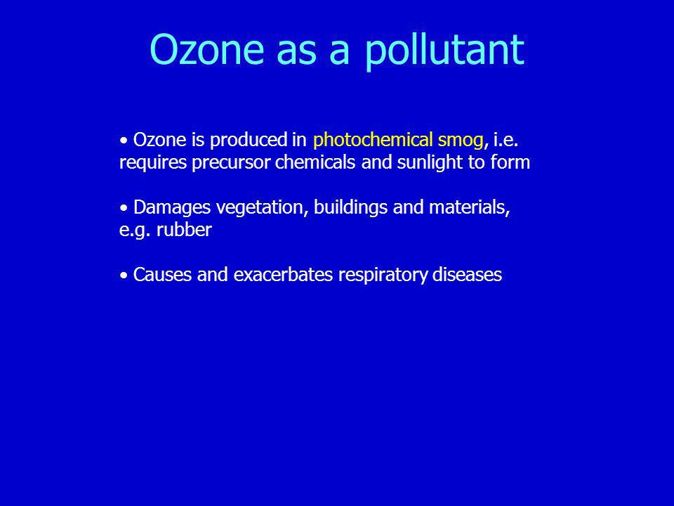 Ozone as a pollutant Ozone is produced in photochemical smog, i.e.