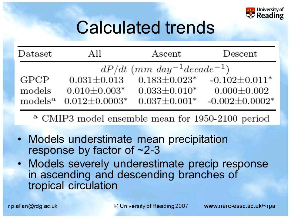 University of Reading 2007www.nerc-essc.ac.uk/~rpa Calculated trends Models understimate mean precipitation response by factor of ~2-3 Models severely underestimate precip response in ascending and descending branches of tropical circulation