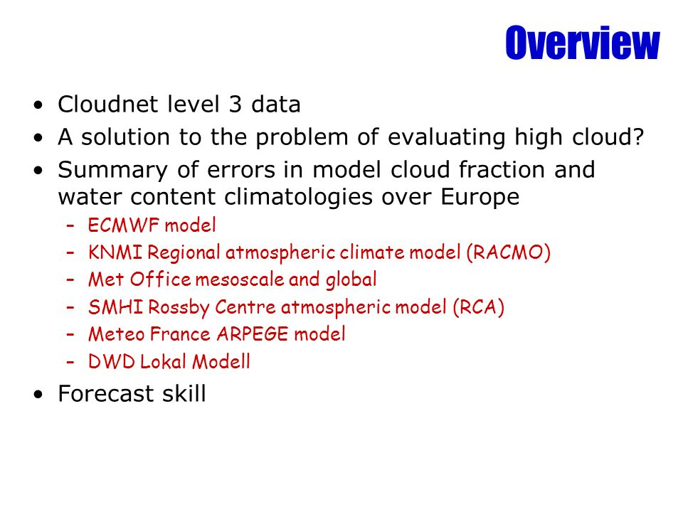 Cloudnet level 3 data Level 3 files summarise the comparison of a observations and model over a certain period: –Long-term mean of a quantity versus height –Separation into freq.