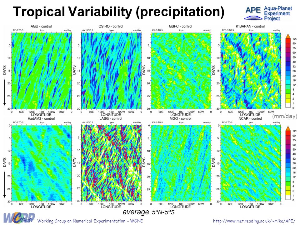 average 5º N -5º S Tropical Variability (precipitation) http://www.met.reading.ac.uk/~mike/APE/Working Group on Numerical Experimentation - WGNE (mm/d