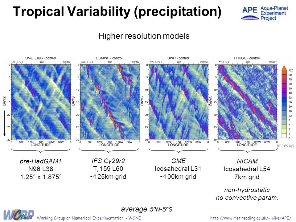 Tropical Variability (precipitation) average 5º N -5º S http://www.met.reading.ac.uk/~mike/APE/Working Group on Numerical Experimentation - WGNE Highe