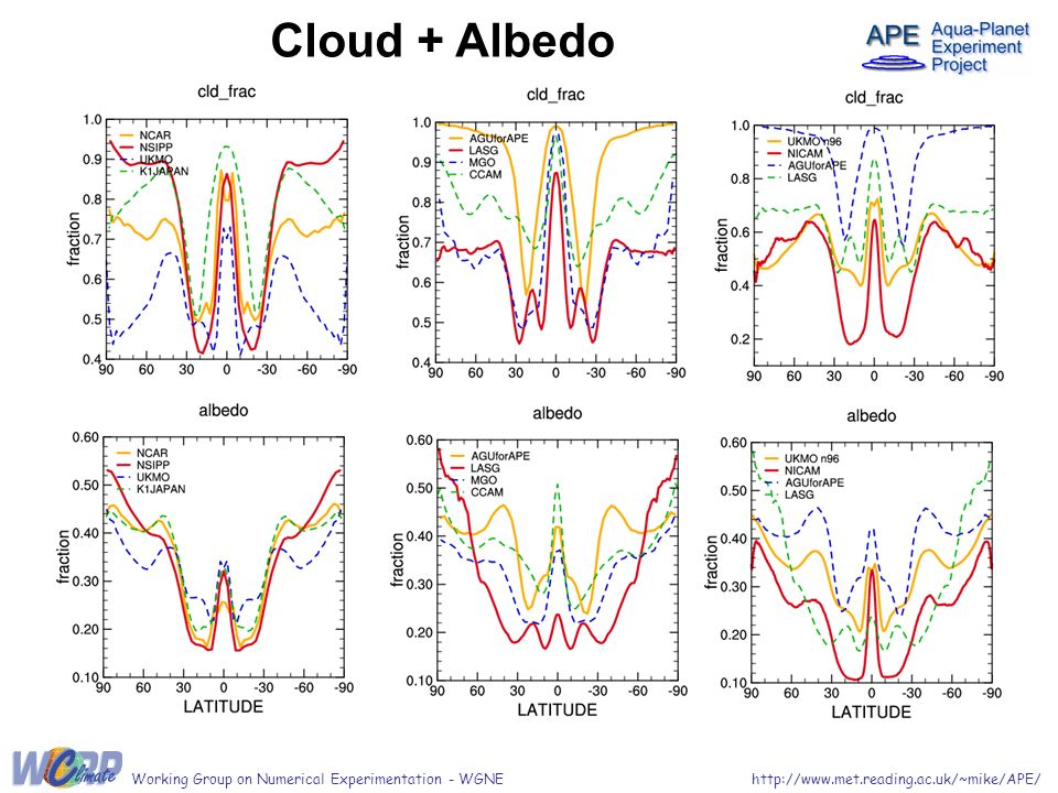 http://www.met.reading.ac.uk/~mike/APE/Working Group on Numerical Experimentation - WGNE Cloud + Albedo