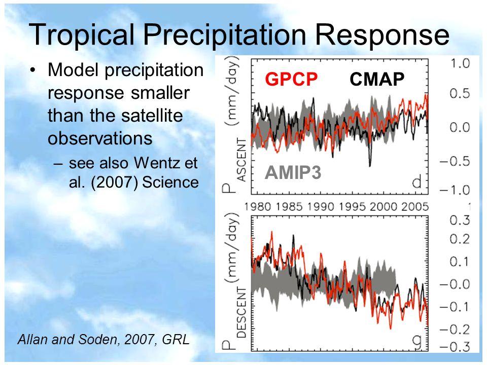 GPCP CMAP AMIP3 Model precipitation response smaller than the satellite observations –see also Wentz et al. (2007) Science Tropical Precipitation Resp