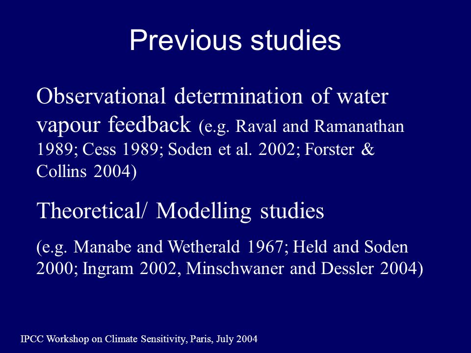 IPCC Workshop on Climate Sensitivity, Paris, July 2004 Previous studies Observational determination of water vapour feedback (e.g.