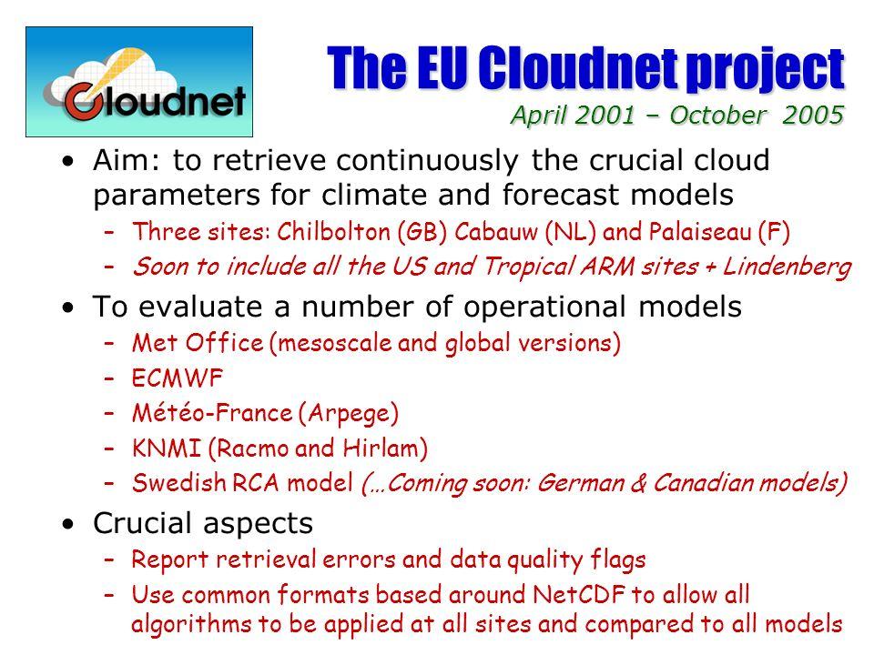 The three Cloudnet sites Core instrumentation at each site: –Cloud radar, cloud lidar, microwave radiometers, raingauge Cabauw, The Netherlands 1.2-GHz wind profiler + RASS (KNMI) 3.3-GHz FM-CW radar TARA (TUD) 35-GHz cloud radar (KNMI) 1064/532-nm lidar (RIVM) 905 nm lidar ceilometer (KNMI) 22-channel MICCY radiometer (Bonn) IR radiometer (KNMI) Chilbolton, UK 3-GHz Doppler/polarisation radar (CAMRa) 94-GHz Doppler cloud radar (Galileo) 35-GHz Doppler cloud radar (Copernicus) 905-nm lidar ceilometer 355-nm UV lidar 22.2/28.8 GHz dual frequency radiometer SIRTA, Palaiseau (Paris), France 5-GHz Doppler Radar (Ronsard) 94-GHz Doppler Radar (Rasta) 1064/532 nm polarimetric lidar 10.6 µm Scanning Doppler Lidar 24/37-GHz radiometer (DRAKKAR) 23.8/31.7-GHz radiometer (RESCOM)