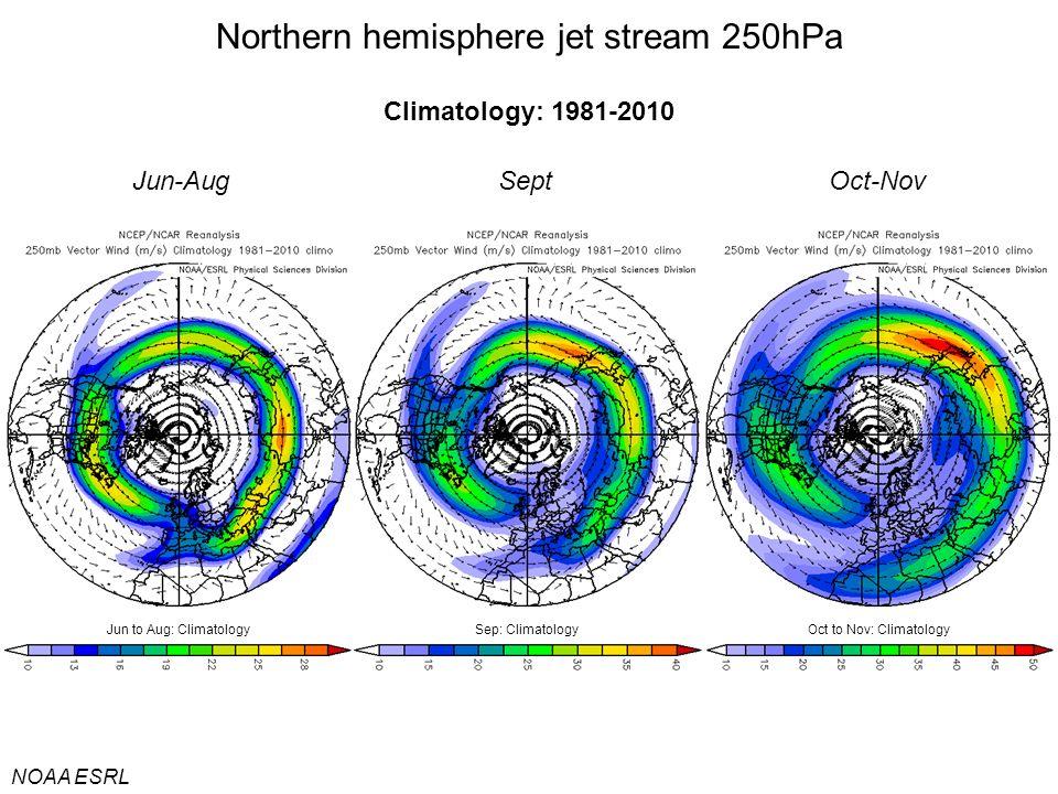 Jun-Aug Northern hemisphere jet stream 250hPa NOAA ESRL Climatology: 1981-2010 SeptOct-Nov Jun to Aug: ClimatologyOct to Nov: ClimatologySep: Climatology