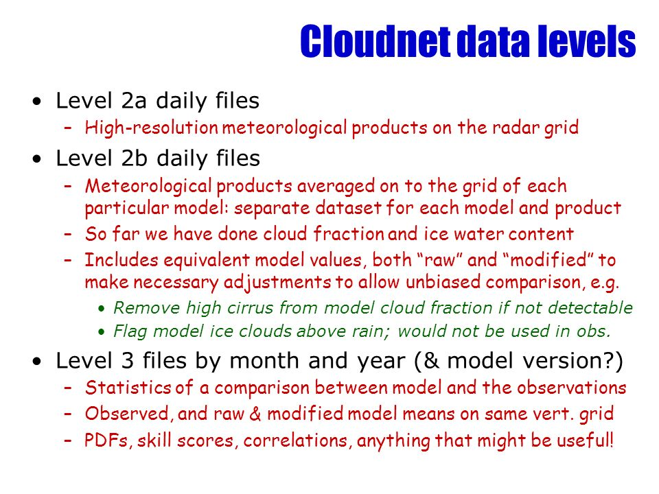 Cloudnet data levels Level 2a daily files –High-resolution meteorological products on the radar grid Level 2b daily files –Meteorological products ave