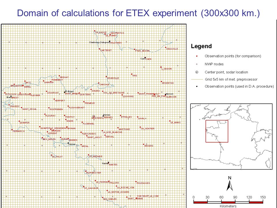 Domain of calculations for ETEX experiment (300x300 km.)