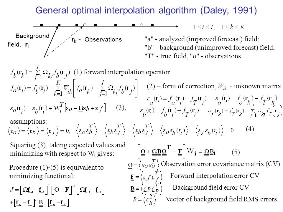 General optimal interpolation algorithm (Daley, 1991) Background field : r i r k - Observations a - analyzed (improved forecast) field; b - background (unimproved forecast) field; T - true field, o - observations (1) forward interpolation operator (2) – form of correction, W ik - unknown matrix (3), assumptions: (4) Squaring (3), taking expected values and minimizing with respect to W i gives: (5) Observation error covariance matrix (CV) Forward interpolation error CV Background field error CV Vector of background field RMS errors Procedure (1)-(5) is equivalent to minimizing functional: