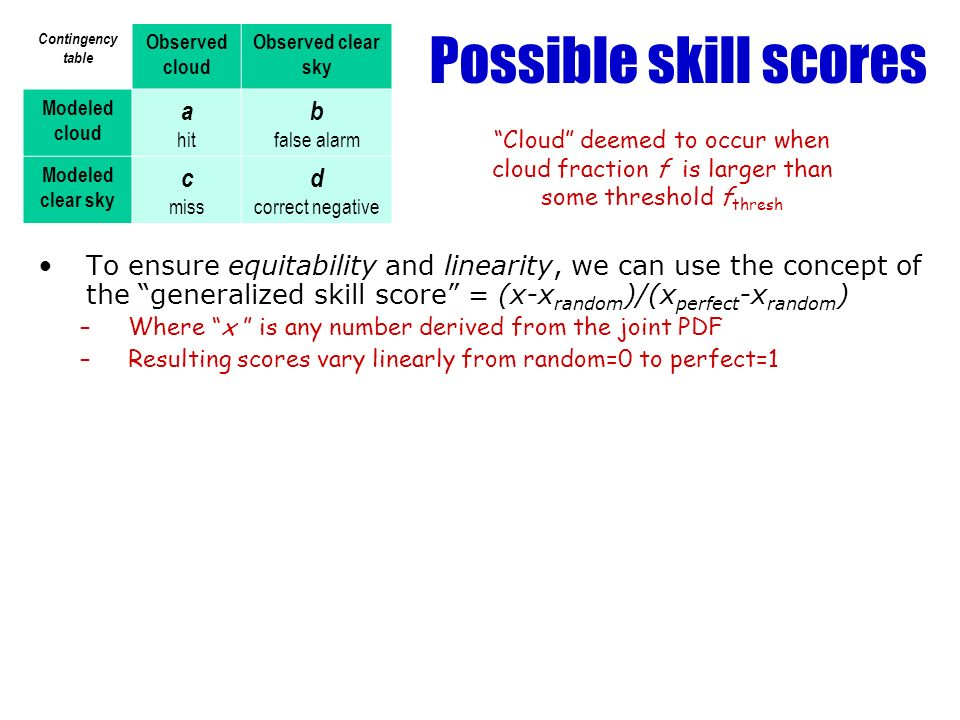 Possible skill scores Contingency table Observed cloud Observed clear sky Modeled cloud a hit b false alarm Modeled clear sky c miss d correct negative Cloud deemed to occur when cloud fraction f is larger than some threshold f thresh To ensure equitability and linearity, we can use the concept of the generalized skill score = (x-x random )/(x perfect -x random ) –Where x is any number derived from the joint PDF –Resulting scores vary linearly from random=0 to perfect=1