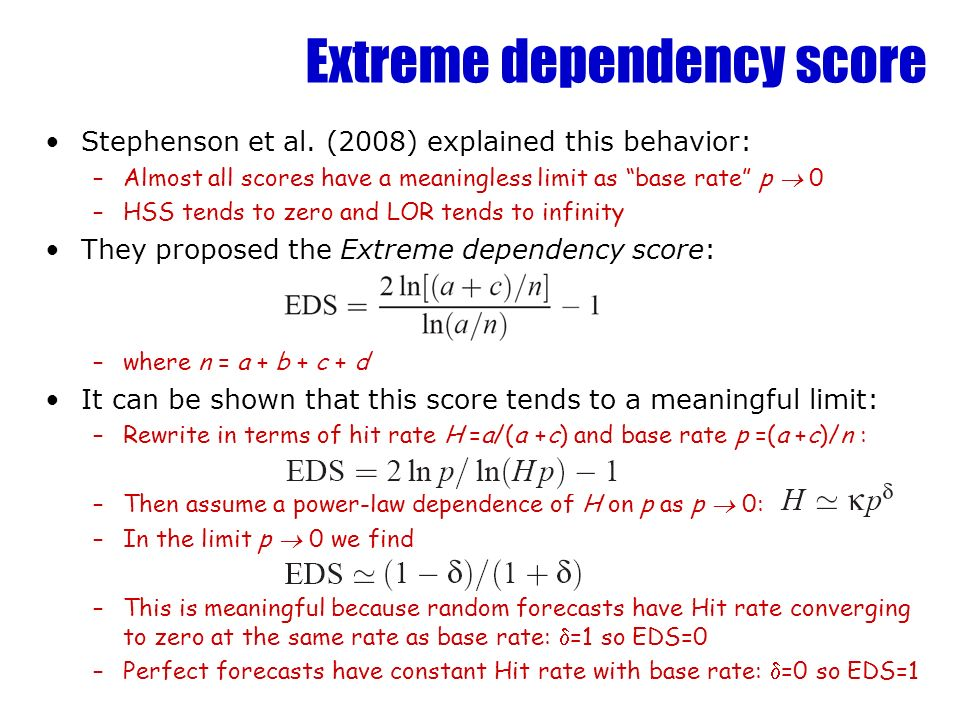Extreme dependency score Stephenson et al.