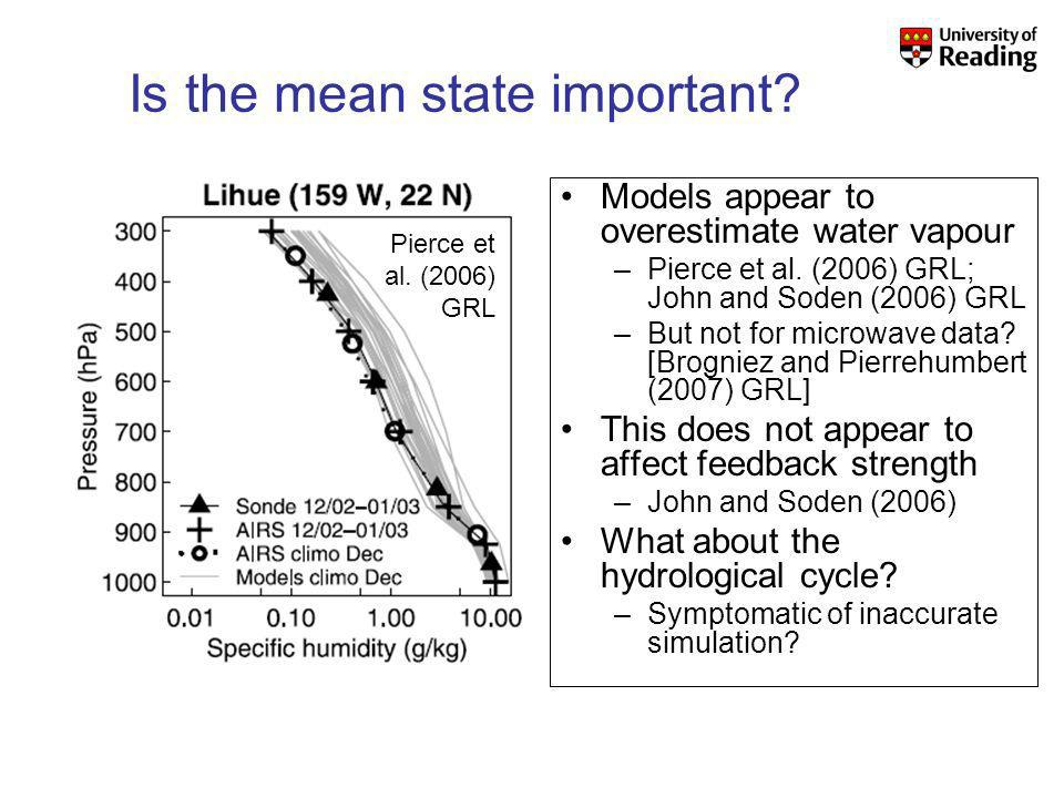 Is the mean state important. Models appear to overestimate water vapour –Pierce et al.
