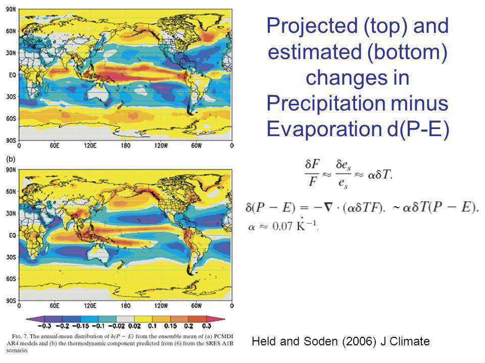 Projected (top) and estimated (bottom) changes in Precipitation minus Evaporation d(P-E) Held and Soden (2006) J Climate ~