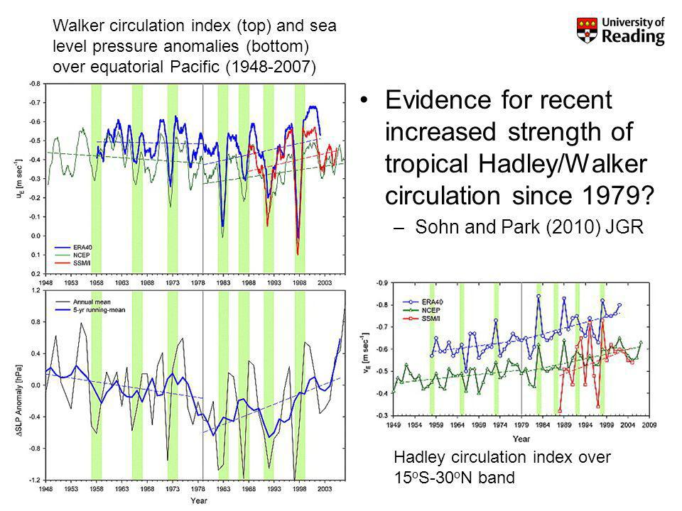 Evidence for recent increased strength of tropical Hadley/Walker circulation since 1979.