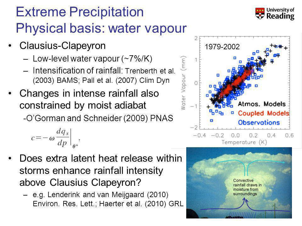 Extreme Precipitation Physical basis: water vapour 1979-2002 Clausius-Clapeyron –Low-level water vapour (~7%/K) –Intensification of rainfall: Trenberth et al.