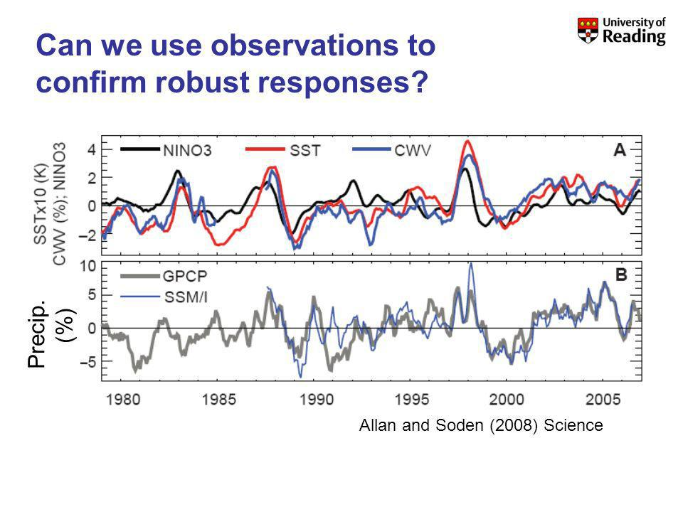 Precip. (%) Allan and Soden (2008) Science Can we use observations to confirm robust responses