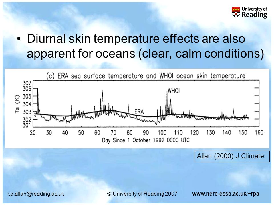 r.p.allan@reading.ac.uk© University of Reading 2007www.nerc-essc.ac.uk/~rpa Diurnal skin temperature effects are also apparent for oceans (clear, calm conditions) Allan (2000) J.Climate
