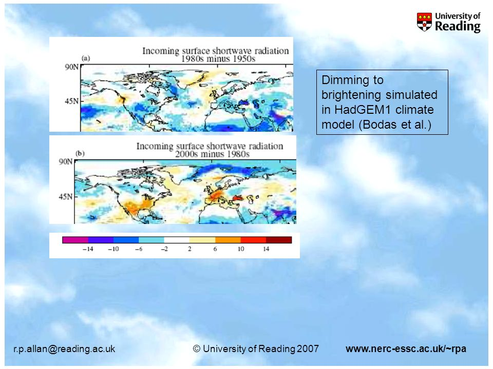 r.p.allan@reading.ac.uk© University of Reading 2007www.nerc-essc.ac.uk/~rpa Dimming to brightening simulated in HadGEM1 climate model (Bodas et al.)