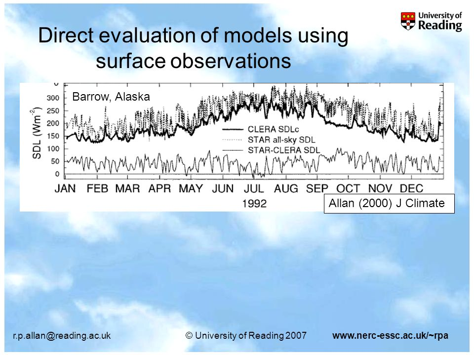 r.p.allan@reading.ac.uk© University of Reading 2007www.nerc-essc.ac.uk/~rpa Direct evaluation of models using surface observations Allan (2000) J Climate Barrow, Alaska