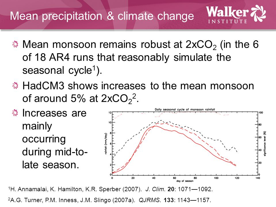 Mean precipitation & climate change Mean monsoon remains robust at 2xCO 2 (in the 6 of 18 AR4 runs that reasonably simulate the seasonal cycle 1 ).