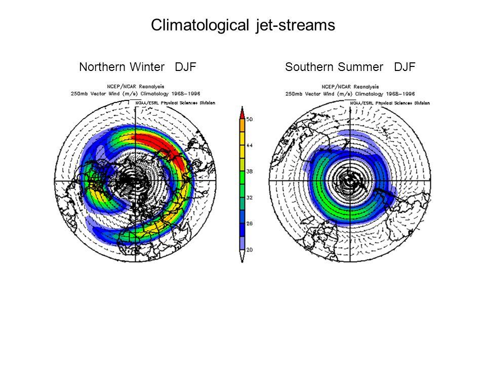 Climatological jet-streams Northern Winter DJFSouthern Summer DJF