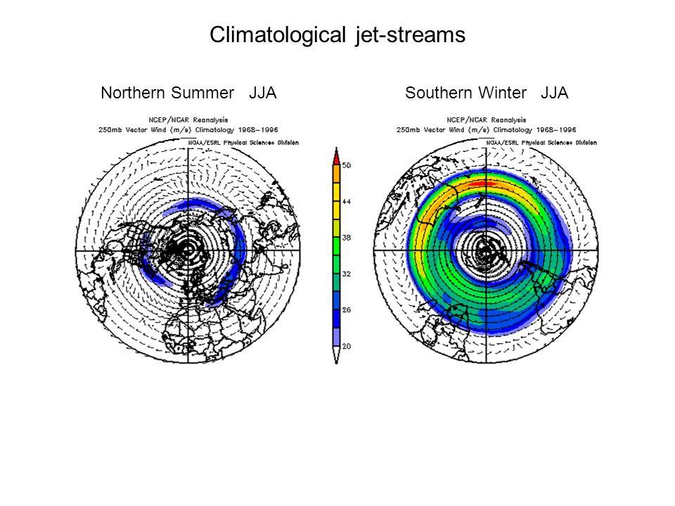 Climatological jet-streams Northern Summer JJASouthern Winter JJA