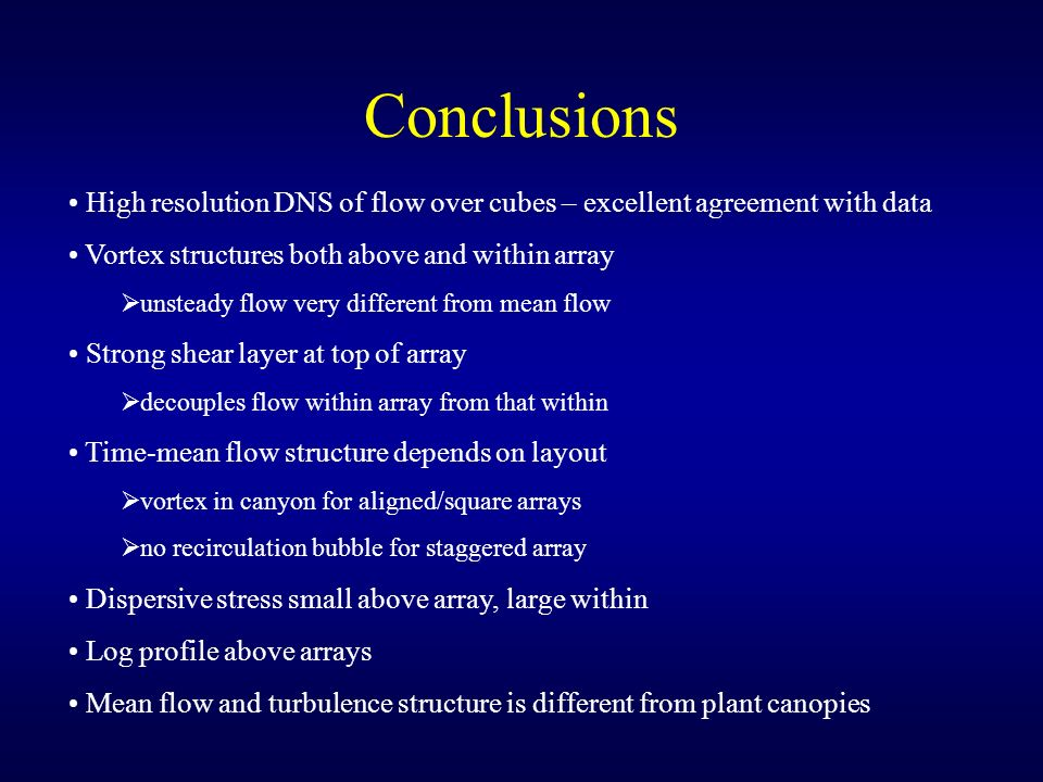 Conclusions High resolution DNS of flow over cubes – excellent agreement with data Vortex structures both above and within array unsteady flow very di