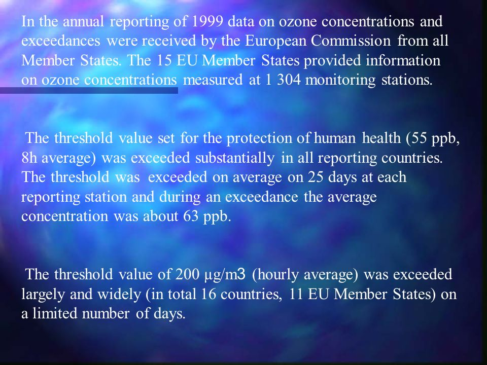 In the annual reporting of 1999 data on ozone concentrations and exceedances were received by the European Commission from all Member States.