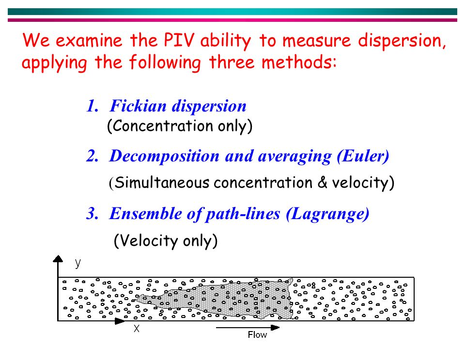 1.Fickian dispersion (Concentration only) 2.Decomposition and averaging (Euler) ( Simultaneous concentration & velocity) 3.Ensemble of path-lines (Lagrange) (Velocity only) We examine the PIV ability to measure dispersion, applying the following three methods: