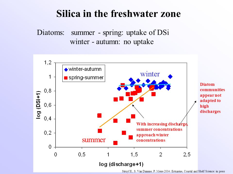 summer winter Silica in the freshwater zone Diatoms: summer - spring: uptake of DSi winter - autumn: no uptake With increasing discharge, summer conce