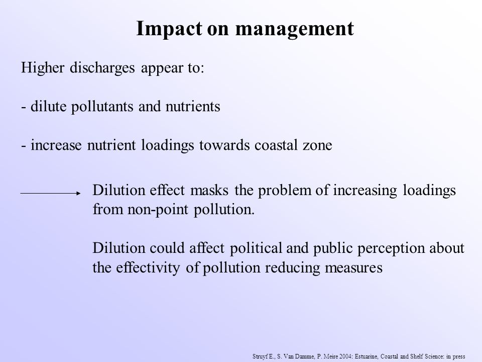 Impact on management Higher discharges appear to: - dilute pollutants and nutrients - increase nutrient loadings towards coastal zone Dilution effect masks the problem of increasing loadings from non-point pollution.