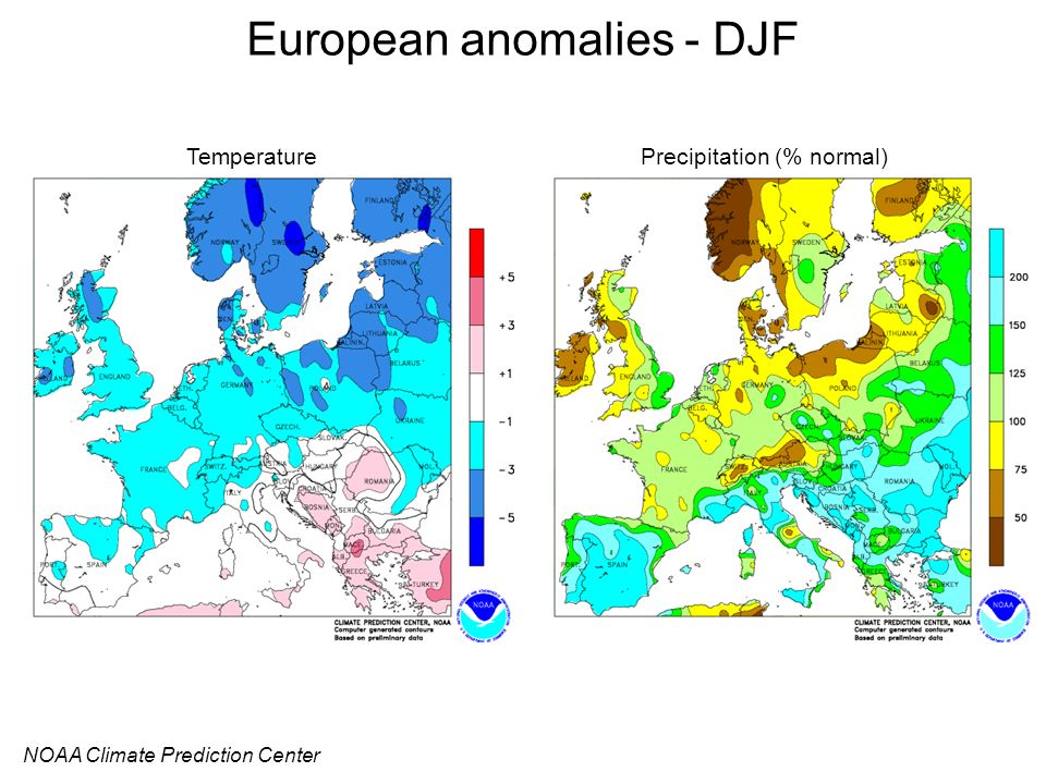European anomalies - DJF NOAA Climate Prediction Center TemperaturePrecipitation (% normal)