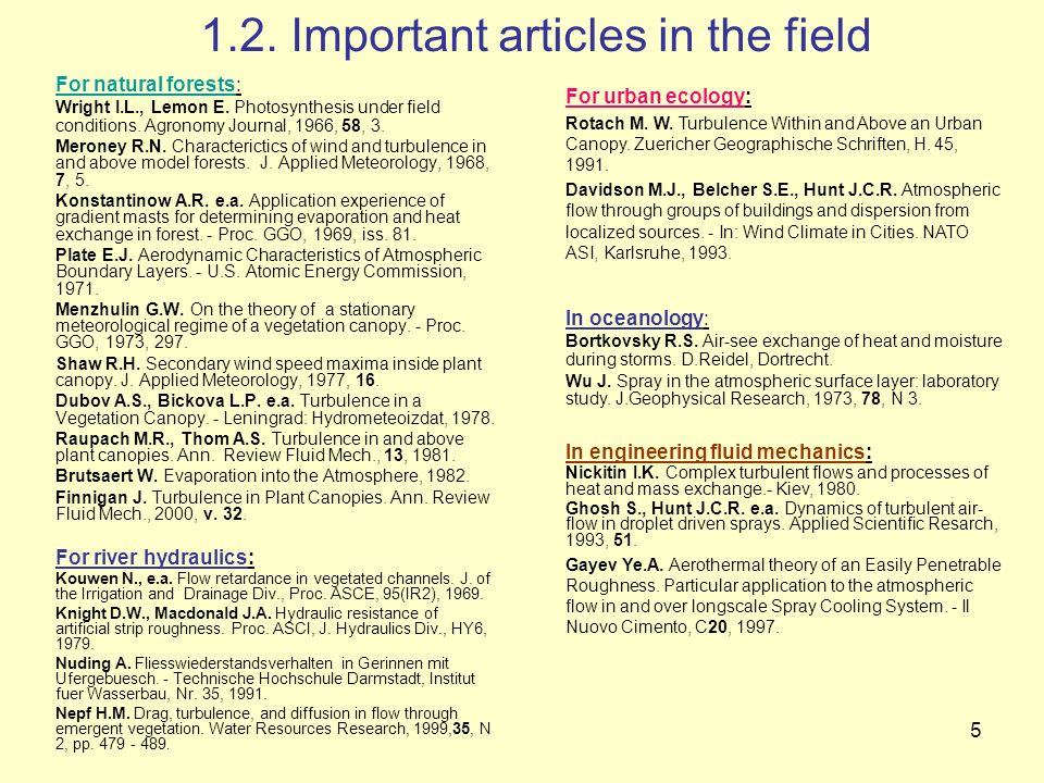 5 1.2. Important articles in the field For natural forests: Wright I.L., Lemon E. Photosynthesis under field conditions. Agronomy Journal, 1966, 58, 3