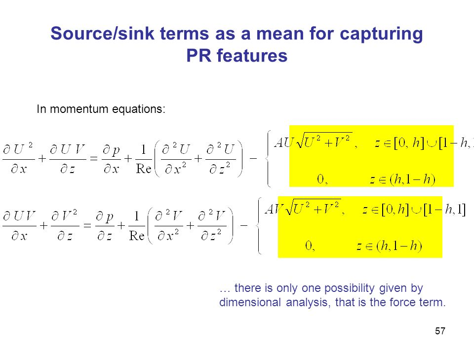 57 Source/sink terms as a mean for capturing PR features In momentum equations: … there is only one possibility given by dimensional analysis, that is