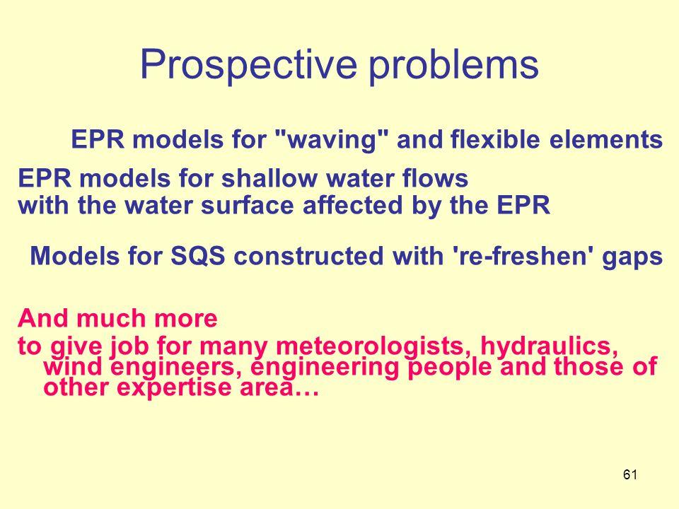 61 Prospective problems EPR models for