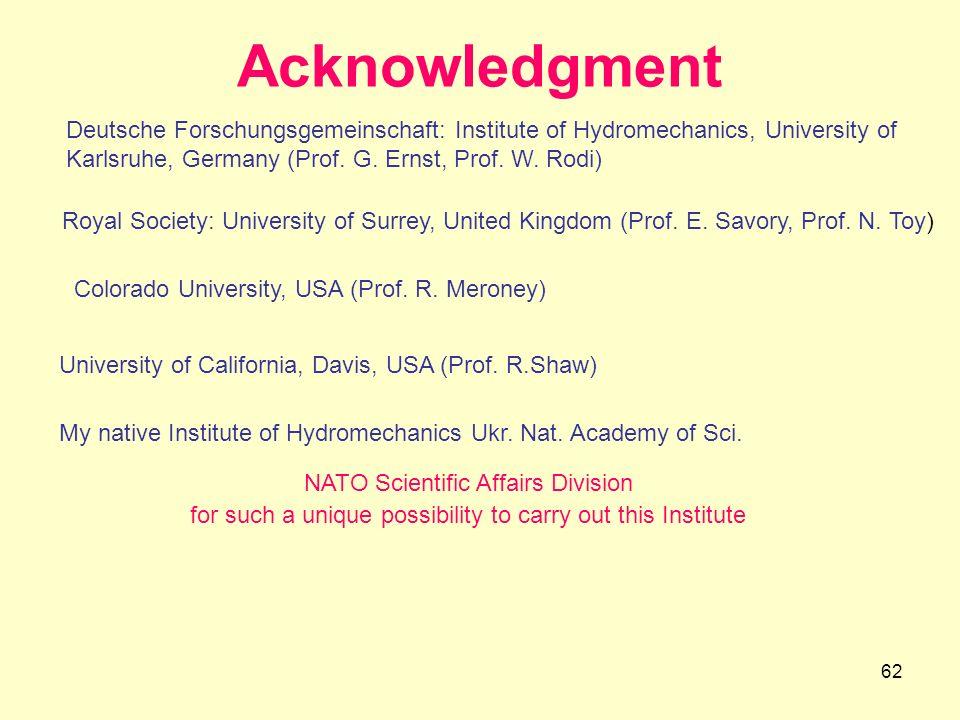 62 Acknowledgment Deutsche Forschungsgemeinschaft: Institute of Hydromechanics, University of Karlsruhe, Germany (Prof. G. Ernst, Prof. W. Rodi) Royal