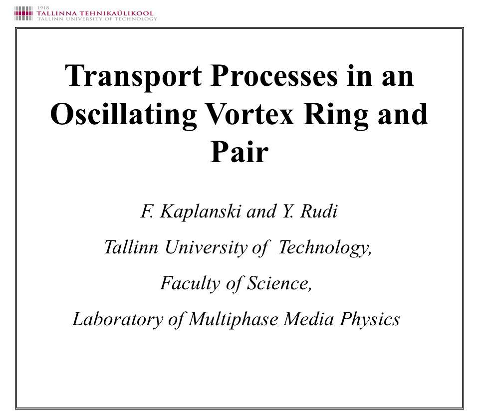Energy Translation velocity Circulation Impulse Properties of the viscous vortex ring (Kaplanski & Rudi,1999)