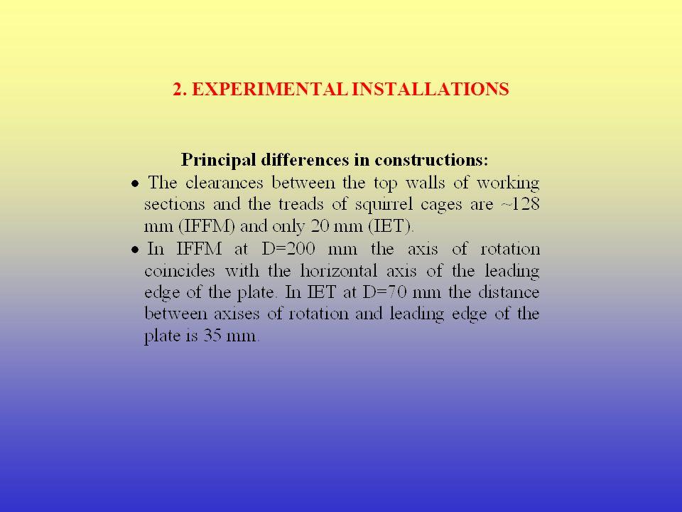 2. EXPERIMENTAL INSTALLATIONS