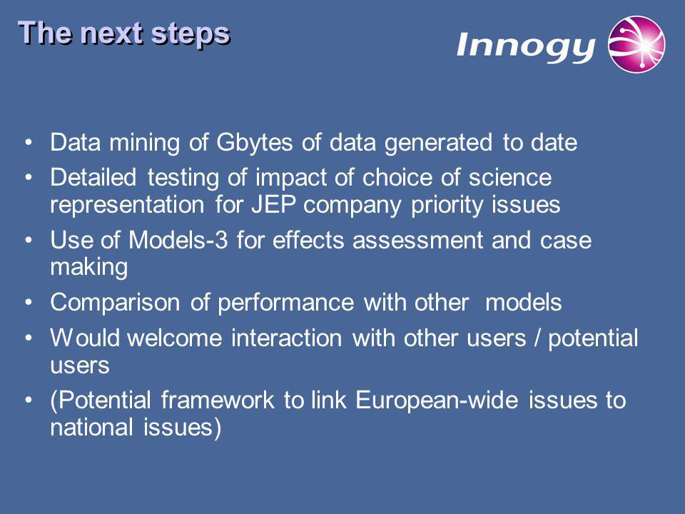 The next steps Data mining of Gbytes of data generated to date Detailed testing of impact of choice of science representation for JEP company priority issues Use of Models-3 for effects assessment and case making Comparison of performance with other models Would welcome interaction with other users / potential users (Potential framework to link European-wide issues to national issues)