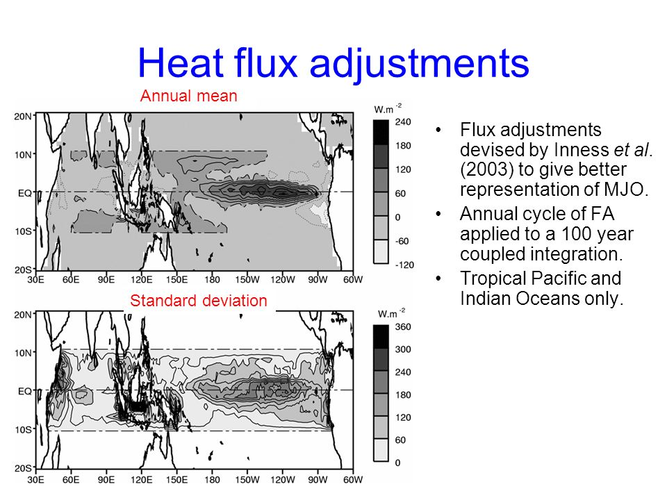 Heat flux adjustments Flux adjustments devised by Inness et al.
