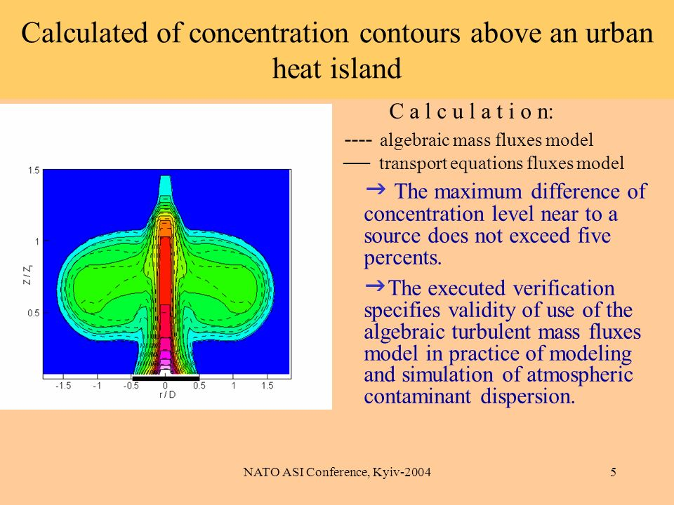 NATO ASI Conference, Kyiv-20045 Calculated of concentration contours above an urban heat island C a l c u l a t i o n: ---- algebraic mass fluxes model transport equations fluxes model The maximum difference of concentration level near to a source does not exceed five percents.