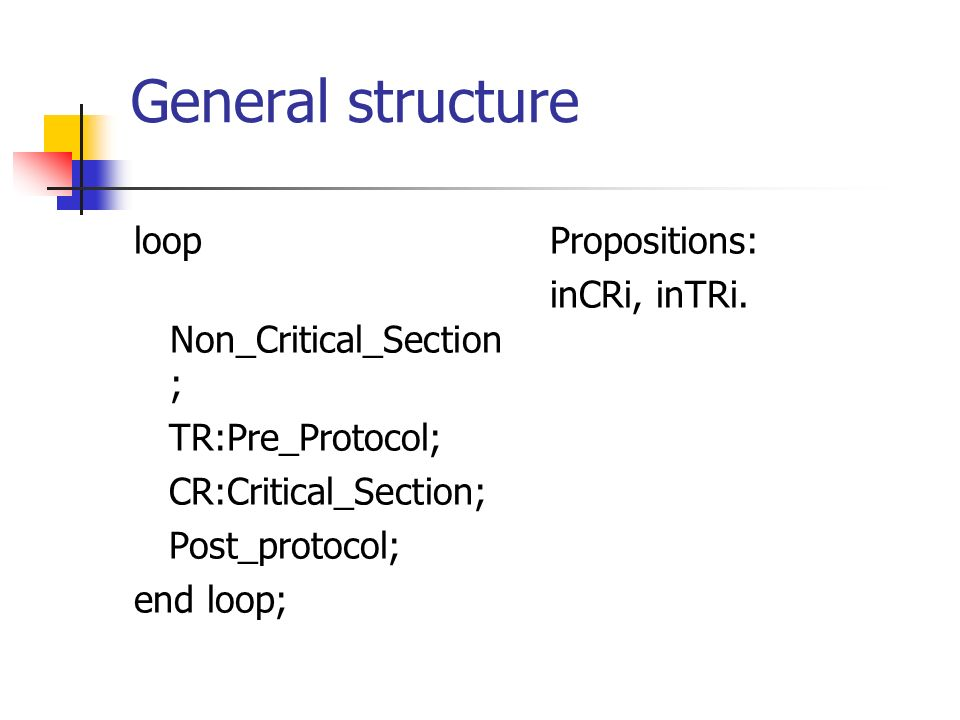 General structure loop Non_Critical_Section ; TR:Pre_Protocol; CR:Critical_Section; Post_protocol; end loop; Propositions: inCRi, inTRi.