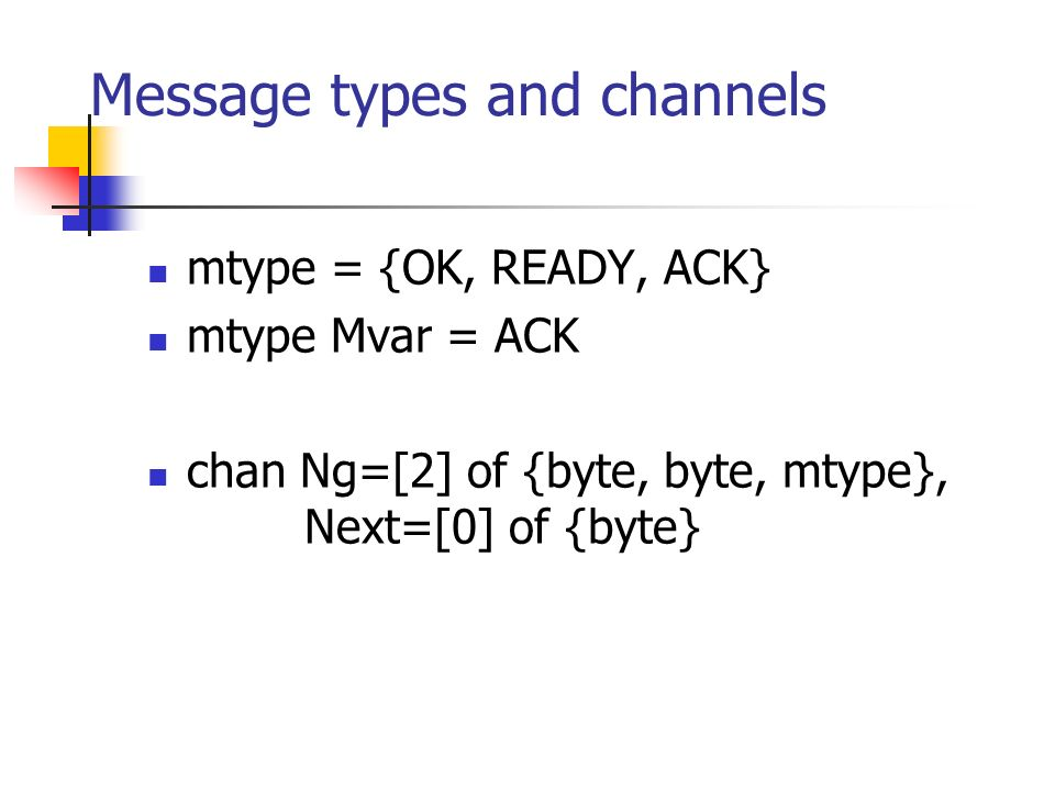 Message types and channels mtype = {OK, READY, ACK} mtype Mvar = ACK chan Ng=[2] of {byte, byte, mtype}, Next=[0] of {byte}