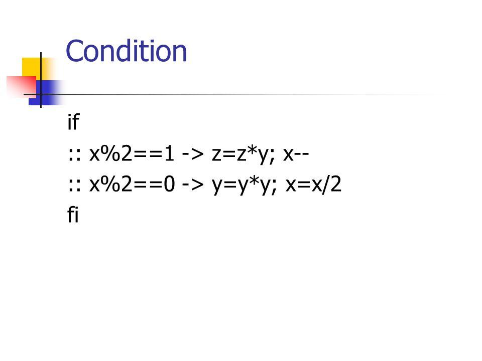 Condition if :: x%2==1 -> z=z*y; x-- :: x%2==0 -> y=y*y; x=x/2 fi