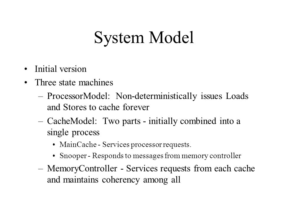 MemoryController Processor MainCache Snooper Processor MainCache Snooper System Model