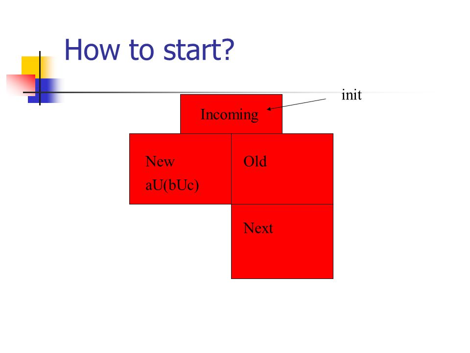How to start? Incoming NewOld Next init aU(bUc)