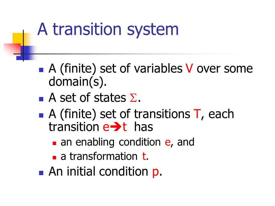 A transition system A (finite) set of variables V over some domain(s).